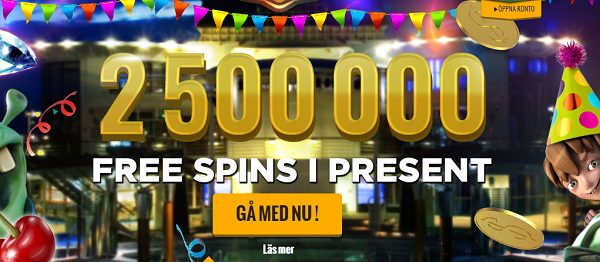 2 500 000 free spins giveaway hos CasinoCruise
