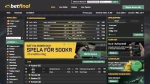 Bild av Betfinal odds sida