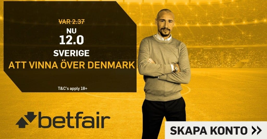 sverige danmark boostade odds betfair fotboll