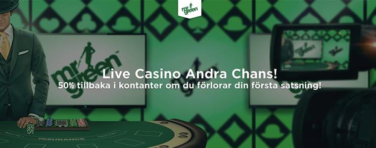 Mr Green live casino erbjudande
